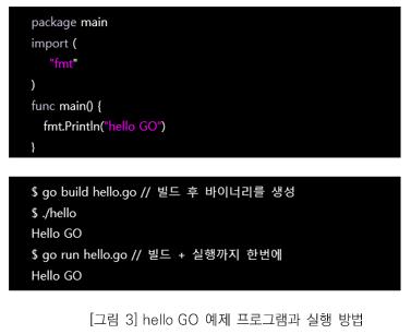 그림3. hello Go 예제 프로그램과 실행 방법