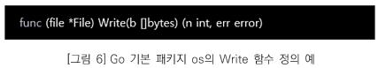 그림6. Go 기본 패키지 os 의 Write 함수 정의 예 ( func (file *File) Write(b []bytes) (n int, err error) )