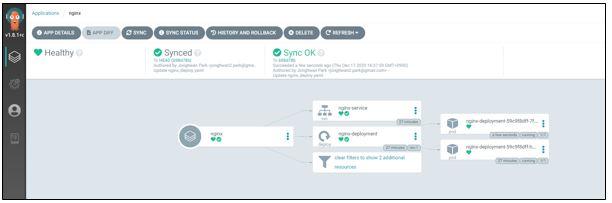 nginx-deployment pod가 두개로 늘어난 것을 보여주는 화면